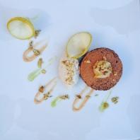 Brownie Cake, Walnut Caramel, Fennel Reduction, Compressed Pear - Vegan GF