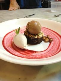 Walnut Brownie, Chocolate Ice Cream, Vanilla Cream, Raspberry Coulis - Raw Vegan GF (PFW)