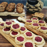 Cookie Display: Raspberry Cashew Thumprint, Banana Breakfast, Protein Bar, Raw Chocolate Chip - Vegan GF
