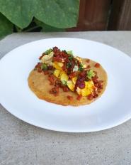 Breakfast Taco: Plantain Shell, Egg, Chipotle Hot Sauce, Crispy Chorizo, Basil Flowers - Paleo, Gluten Free, Dairy Free